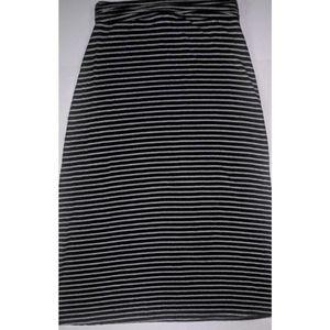 J Crew Blue & Grey Striped Jersey Maxi Skirt